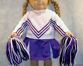 18 Inch Doll Clothes - Purple and White Cheerleader Costume made by Jane Ellen to fit 18 inch dolls