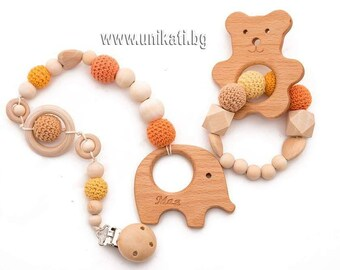 Teething Set of Personalized Wooden Teether Pacifier Clip Wooden Bracelet Bear Elephant Shape Orange Color Baby Shower Gift Handmade Toy