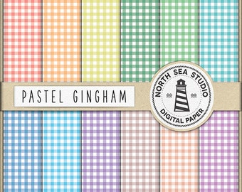 PERFECT PICNIC | Gingham Digital Paper Pack | Pastel Gingham Paper | Printable Backgrounds | 12 JPG, 300dpi Files | BUY5FOR8