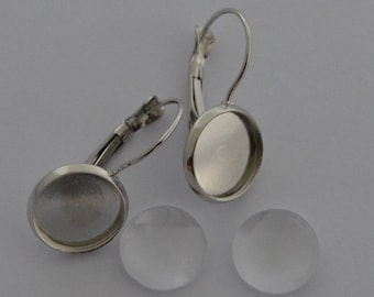 20 pieces: 10 blank earrings earrings Platinum + 10 cabochons 12mm