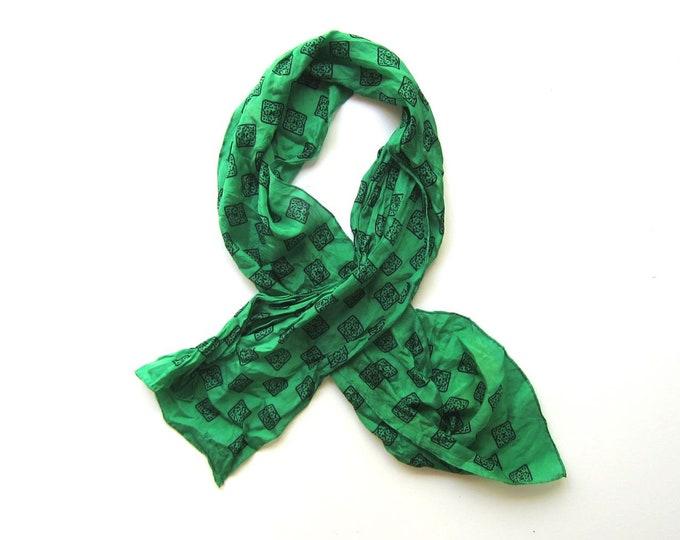 70s Silk ECHO Scarf | Long Neck Scarf | Modern Printed Green Black Printed Silk Neck Tie Vintage 80s Mod Scarf