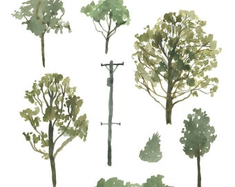 Watercolor Painted Landscape Clip Art Tree Branch Bush Lightpole Commercial use digital scrapbooking branch clip art trees instant