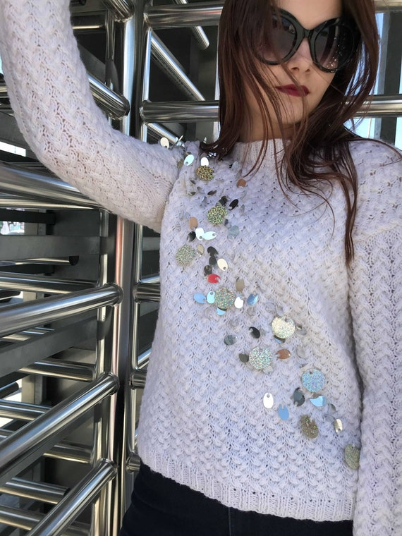 Teen White casual sequins women jumper wool top clothing Round Knitwear Cozy neck with winter girl idea gift sweater knit sleeve long TnqB0CT