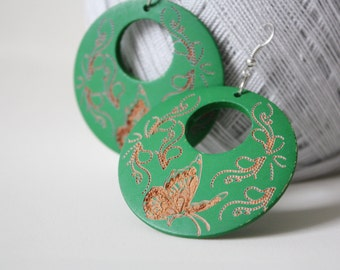Green Days Butterfly Dancing with  Flower  Laser Cut Wood Earring