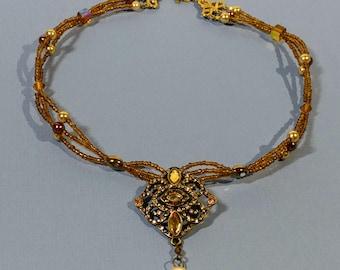 "17"" Avant Garde Multi Strand Victorian Necklace Topaz Beads Antiqued Gold Filigree Pendant Pearled Drop Swarovski Crystal Formal Wear Gift"