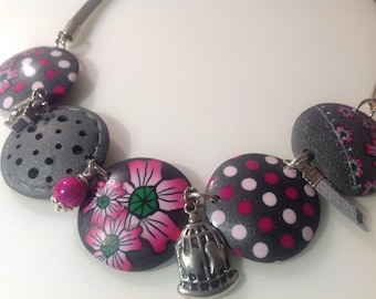 Polymer clay lentil fuchsia and grey necklace