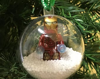 Holiday Christmas Tree Ornament Marvel DC Comic Iron Man Lego Figurine