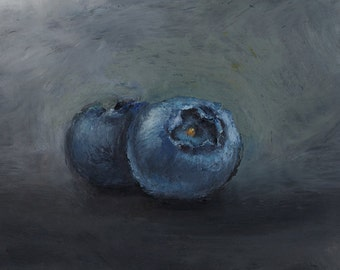 Giclee, Acid-Free, Matted Print of an Original Oil Pastel Painting of Blueberries