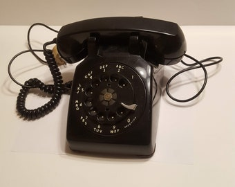 Vintage Bell System Western Electric Black Desk Phone Rotary Dial