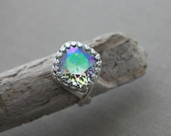 Crystal paradise shine Swarovski crystal ring - Adjustable silver plated ring - crown setting - Sparkly Statement ring - Pastel Rainbow