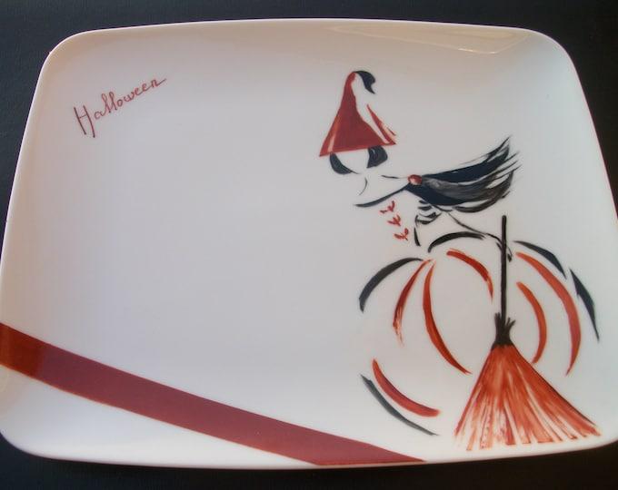 plate /rectangulaire / handpainted porcelain / theme / halloween craft creation / design