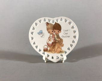 VALENTINE'S DAY GIFT, small heart plate, ceramic plate, little heart shaped plate, Precious Moments plate, Love One Another plate, gift
