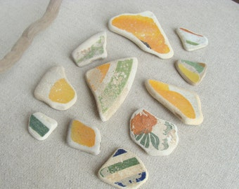 Set of 11 Yellow and Green Sea Pottery,Italian Genuine Beach Pottery, Mosaic Pieces, Sea Pottery, Beach Finds, Craft Supplies.