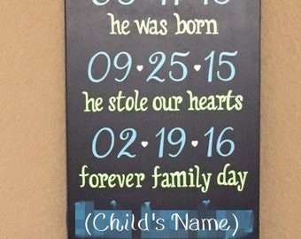 "Adoption Sign, Forever Family Day Personalized with Name & Dates, Adoption Day Sign - 16"" x 24"" SignsbyDenise"