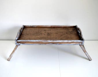 Large Breakfast Tray-Bed Tray-Tray with Legs-Rustic Wooden Tray- Natural Serving Tray-Tray-Decorative Tray-Stained Tray-Shabby Tray