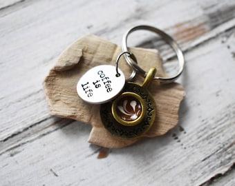 Coffee Is Life- Cute Coffee Cup Keychain- Coffee Key Ring Gift -Coffee Tea Caffeine Addict Keychain