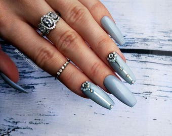 GRAY JOY press on nails with crystals accents | pop on nails | glue on nails| sticky nails| bride wedding | coffin stiletto almond oval