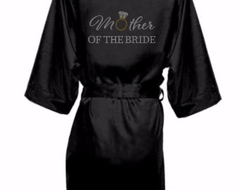 Bridal Party Satin Robes with Rhinestone Crystals, Bridesmaid Robes, Satin Bride Robe,Rhinestone Bridal Party Robe, Mother of the Bride robe