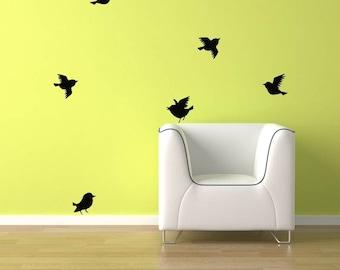Birds Wall Decal - 6 Birds flying. FREE Shipping Bird vinyl sticker Decal sku1552
