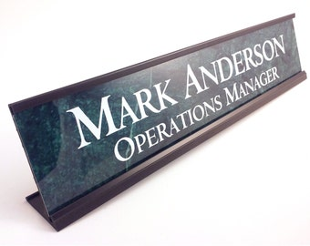 Personalized Desk Name Plate Nameplate White Insert With