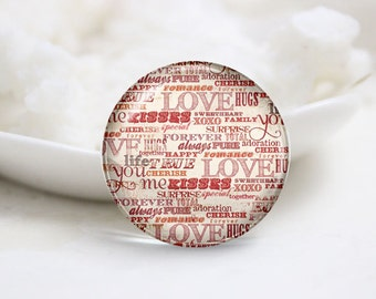 Handmade Round Love Photo Glass Cabochons (P3542)