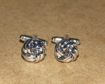 Silver knot Cufflinks, Mens gifts, Silver cufflinks, Knot cufflinks, Metal knot cufflinks, Wedding cufflinks, silver wedding cufflinks