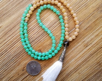 Mala, Tassel Necklace, 108 Bead Meditation, Boho, Yoga, Prayer Beads, Mantra, Tassels