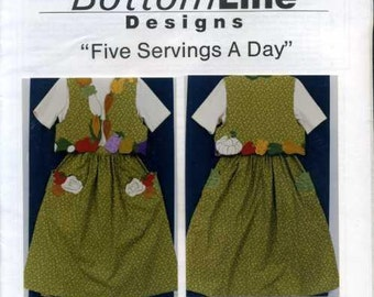 Free Us Ship BottomLine Designs Designer Jackie Boroff Five Servings a Day 1994 Nutrition Applique Fruit Veggies Craft Sewing Pattern