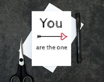 Romantic Valentine's day card - you are the one card - love arrow card - love card - anniversary card - Valentines card - love heart card