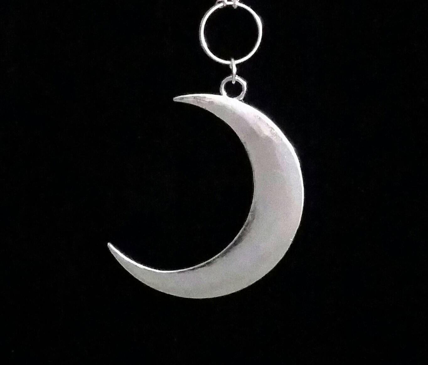 Crescent Moon Necklace Occult Jewelry Moon Necklace Gothic