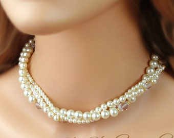 3-Strand Pearl & Crystal Bridal Necklace Ivory or White Pearls - KARA