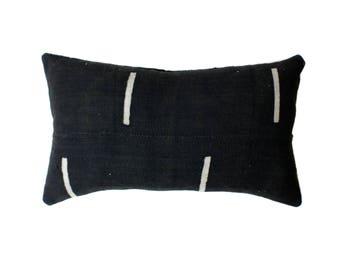 African Mudcloth Pillow Cover, African Pillow, Black and Cream | Lumbar | 'Nina'