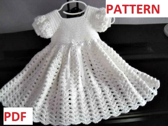 Crochet Pattern Infant Baptism Blessing Christening Dress