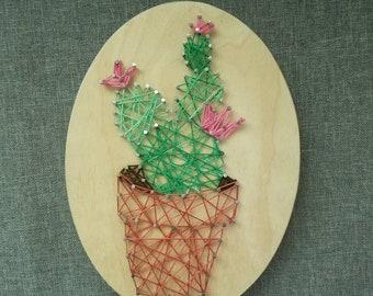 String Art Blooming Cactus in a Terra Cotta Pot