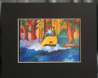 Boating in the Oaks 5 x 7  PRINT with 8 x 10 Black Matte