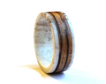 Deer Antler Wedding Band, Zebrano Ring, Wood  Mens Ring, Unisex Ring