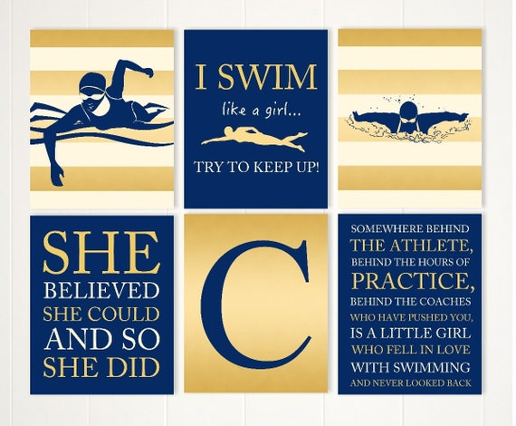 Swimmer gift swimmer girl swim wall art teen girl wall art