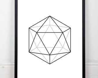Icosahedron printable, abstract art print, black and white print, platonic solids print, geometric drawing, sacred geometry, 18x24 print