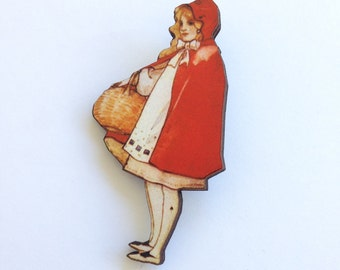 Little Red Riding Hood  in her Cloak Wooden brooch pin Birthday Christmas Holiday Gift Childrens Stories