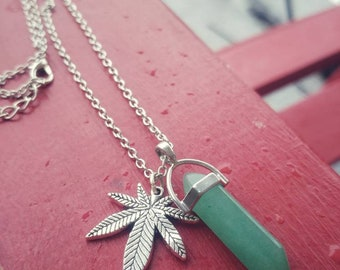 Green Prism Silver Tone Cannabis Leaf Necklace.