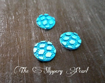 Mermaid Scale Cabochons 12mm Cabochons Blue Round Cabochons Dragon Scale Cabochons Flat Back Embellishments 6 pieces