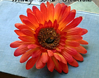 Sunset Orange Daisy Hair Clip Fascinator - Vegan, ATS, Tribal Fusion, Belly Dance, Pin Up, Wedding, Fall