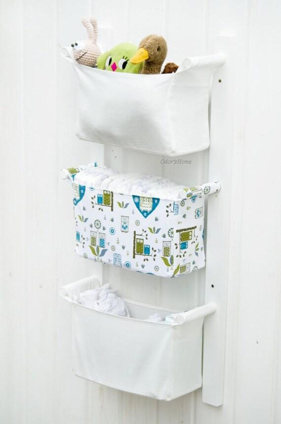 Items Similar To Baby Room Organizer   Nursery Storage Bins   Fabric Nursery  Basket   Diaper Caddy Wall Organizer   Change Table Storage Custom  Organizer On ...