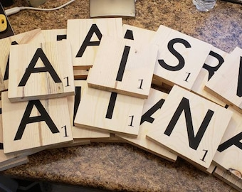 Scrabble tiles, wooden letters, scrabble blocks, family name letters, wood letters, gallery wall art