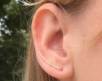 Gold Climber earrings, Rose Gold Earrings, Minimalist Bar Earrings
