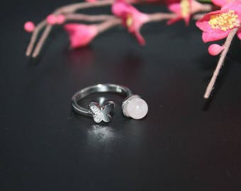 Butterfly and rose Quartz silver ring
