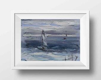 Sailboat Print, Boat Print, Nautical Decor, Sail Boats, California Art, Seascape, Ocean Print, 8x10, Monterey Bay, Palette Knife, California