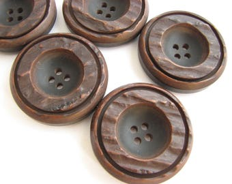 5 large brown buttons, Big coat buttons in brown and black, 33 mm, unused