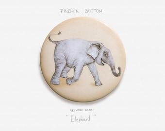 "Elephant - Pinback Button Badge - 2.25"" (5.5cm)"