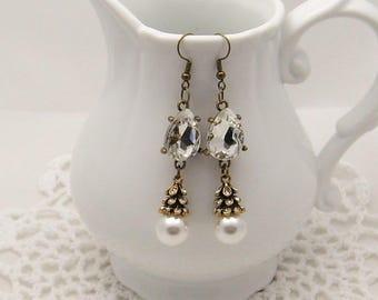 Rhinestone Tear Drop Pearl Earrings